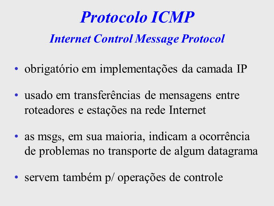 Protocolo ICMP Internet Control Message Protocol