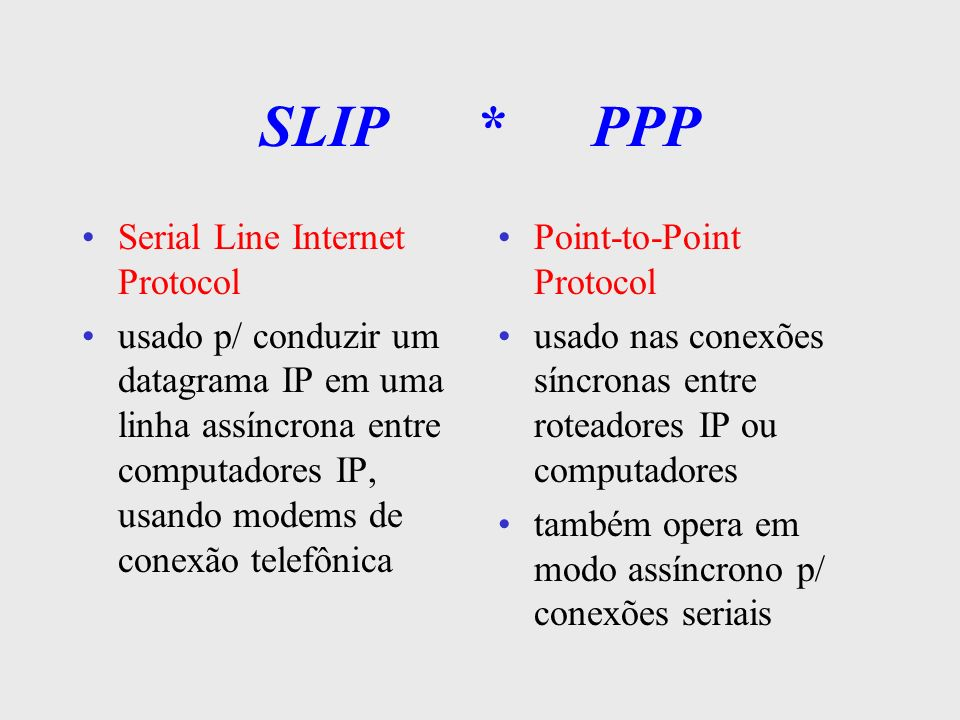 SLIP * PPP Serial Line Internet Protocol