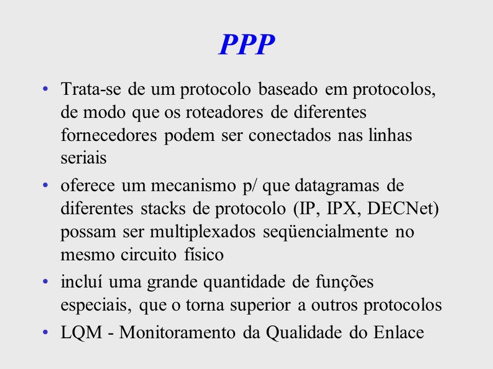 PPP Trata-se de um protocolo baseado em protocolos, de modo que os roteadores de diferentes fornecedores podem ser conectados nas linhas seriais.