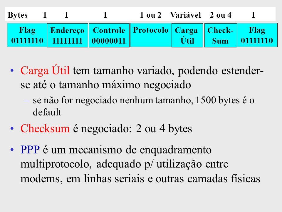 Checksum é negociado: 2 ou 4 bytes