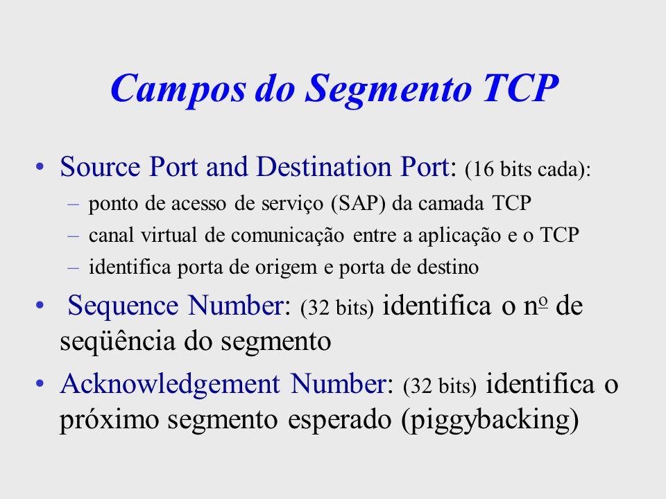 Campos do Segmento TCP Source Port and Destination Port: (16 bits cada): ponto de acesso de serviço (SAP) da camada TCP.