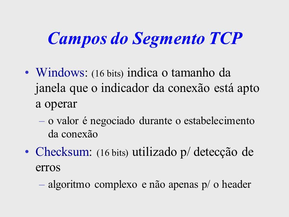 Campos do Segmento TCPWindows: (16 bits) indica o tamanho da janela que o indicador da conexão está apto a operar.