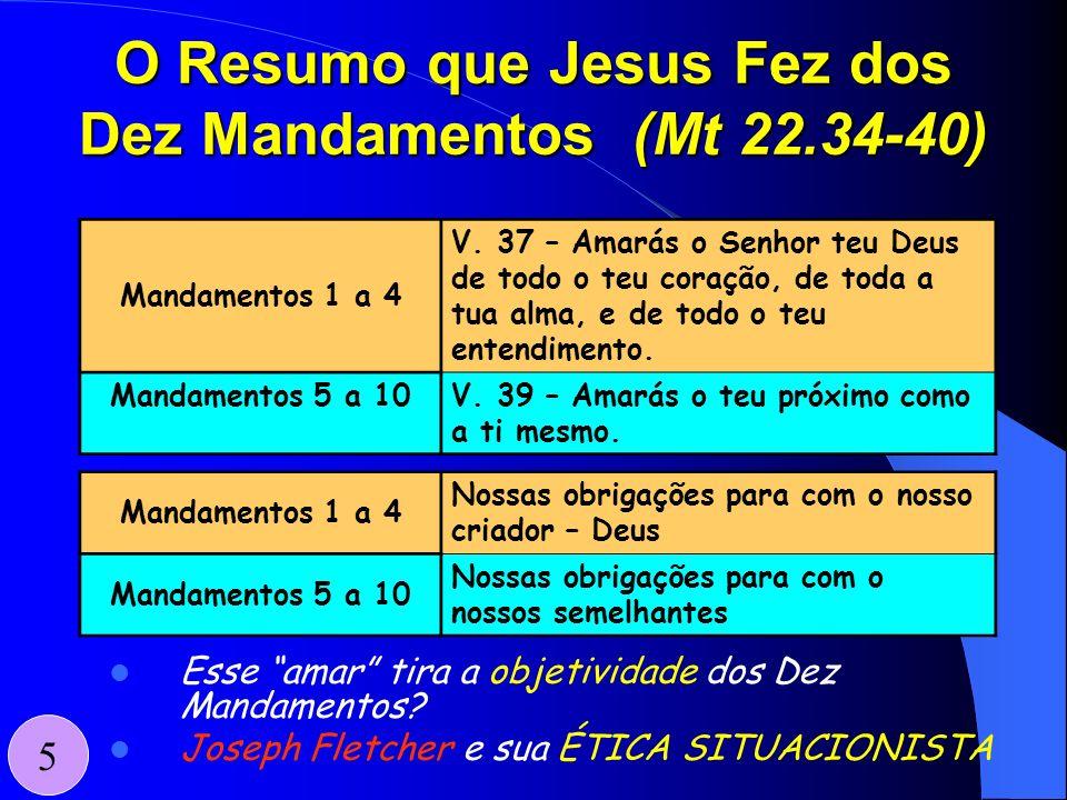 O Resumo que Jesus Fez dos Dez Mandamentos (Mt 22.34-40)