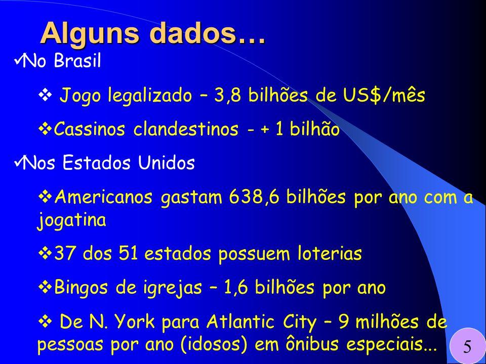 Alguns dados… No Brasil Jogo legalizado – 3,8 bilhões de US$/mês