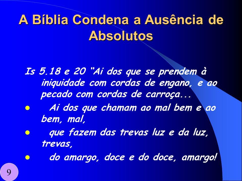 A Bíblia Condena a Ausência de Absolutos