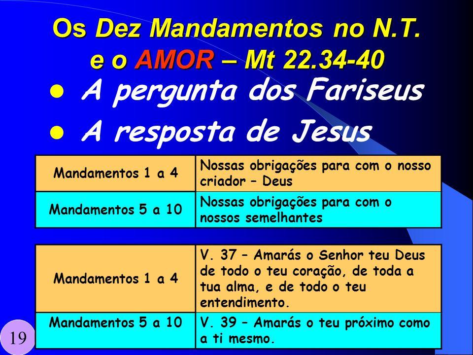 Os Dez Mandamentos no N.T. e o AMOR – Mt 22.34-40