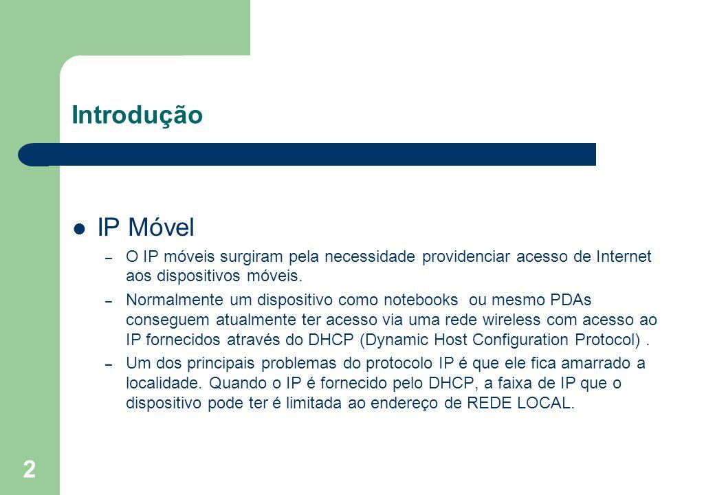 Introdução IP Móvel. O IP móveis surgiram pela necessidade providenciar acesso de Internet aos dispositivos móveis.