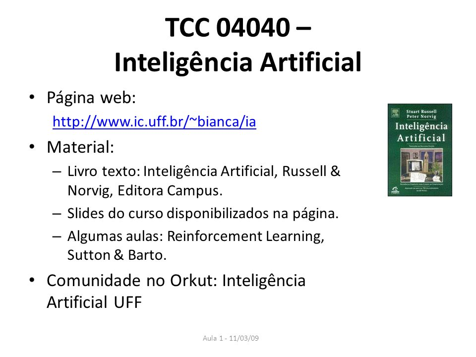 TCC 04040 – Inteligência Artificial