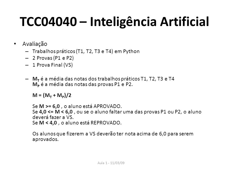 TCC04040 – Inteligência Artificial