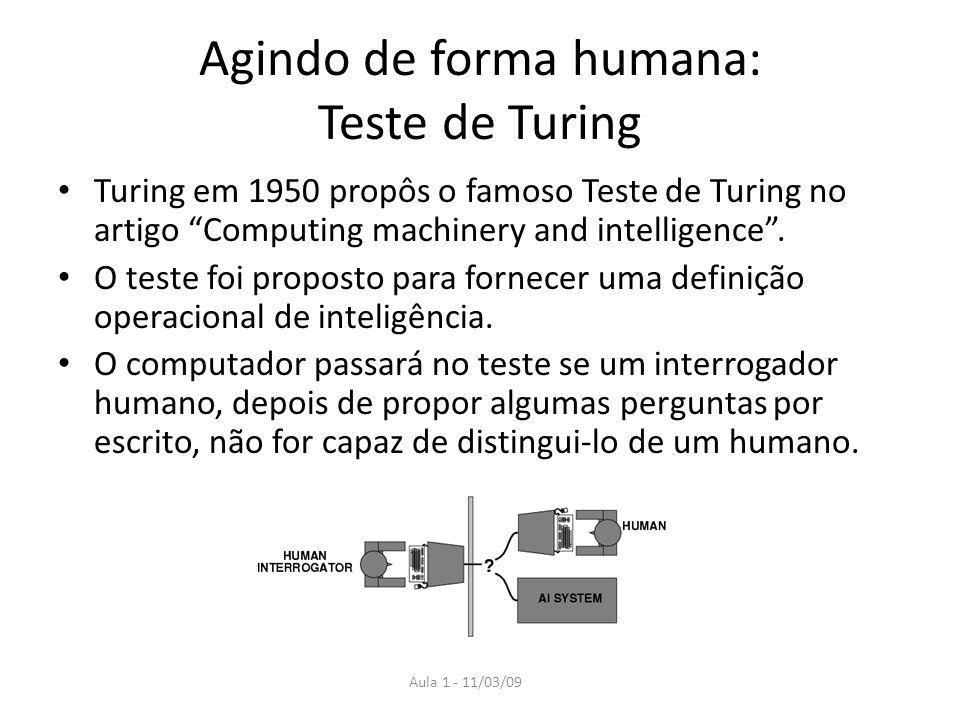 Agindo de forma humana: Teste de Turing