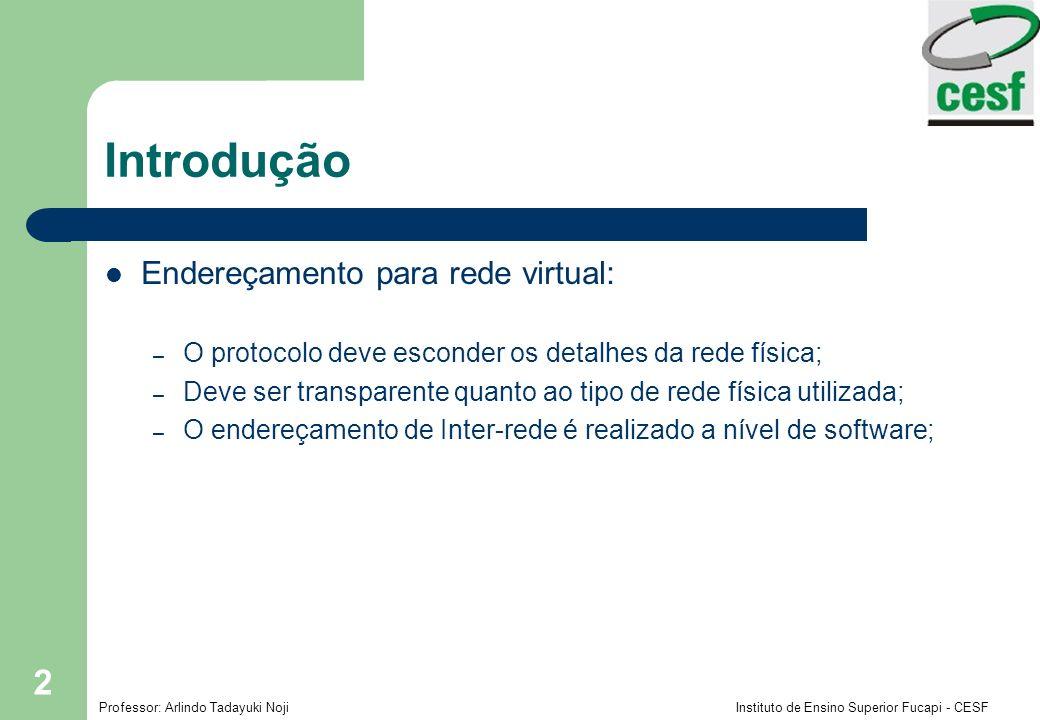 Introdução Endereçamento para rede virtual: