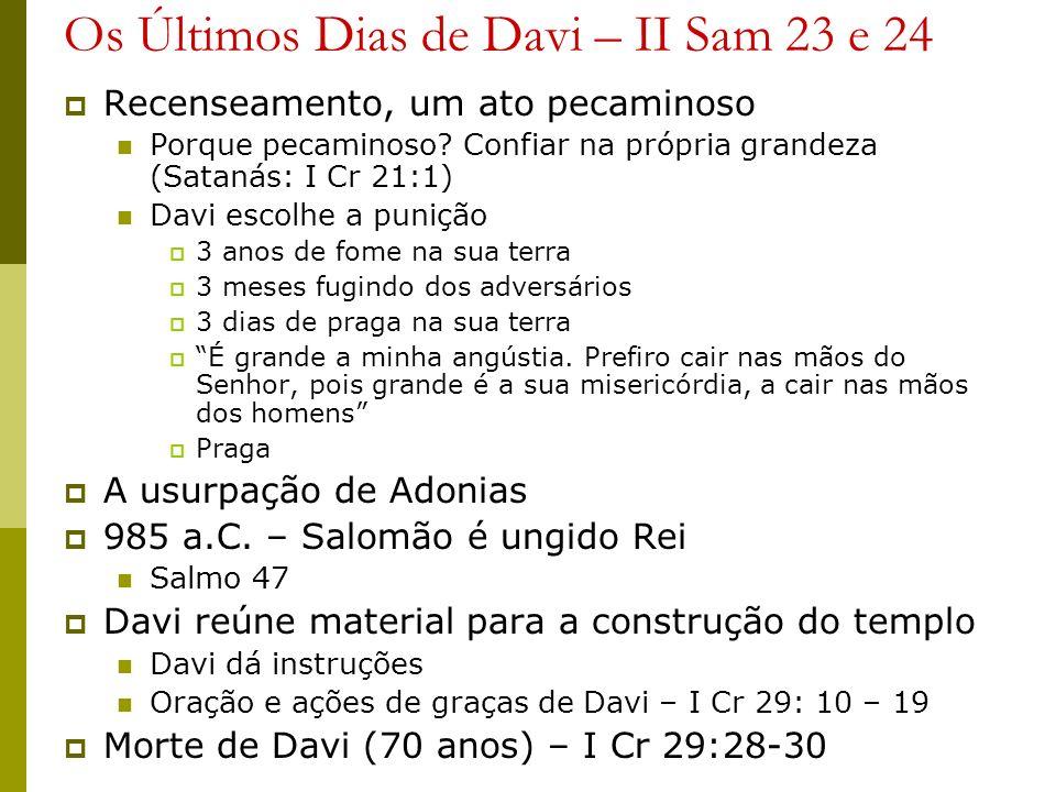 Os Últimos Dias de Davi – II Sam 23 e 24