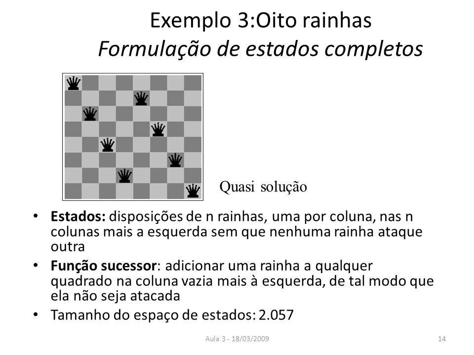 Exemplo 3:Oito rainhas Formulação de estados completos