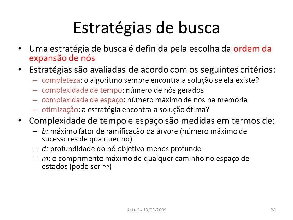 Estratégias de buscaUma estratégia de busca é definida pela escolha da ordem da expansão de nós.