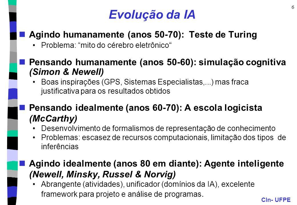 Evolução da IA Agindo humanamente (anos 50-70): Teste de Turing