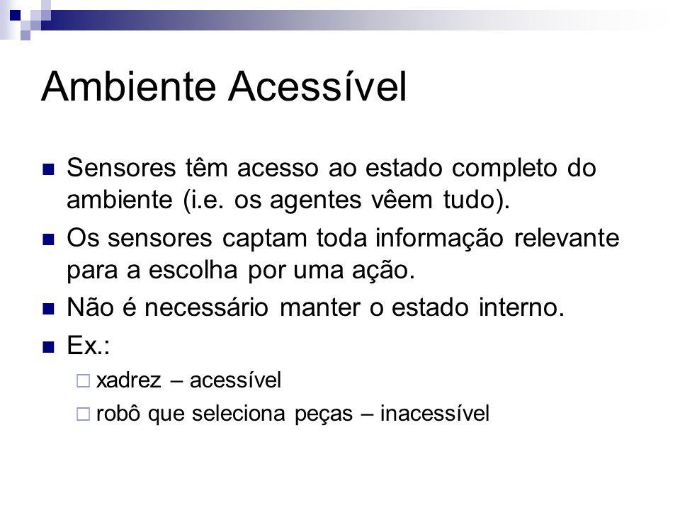 Ambiente Acessível Sensores têm acesso ao estado completo do ambiente (i.e. os agentes vêem tudo).