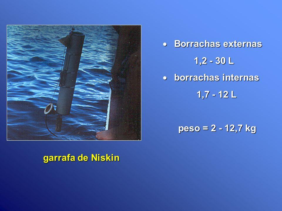 Borrachas externas 1,2 - 30 L borrachas internas 1,7 - 12 L peso = 2 - 12,7 kg garrafa de Niskin