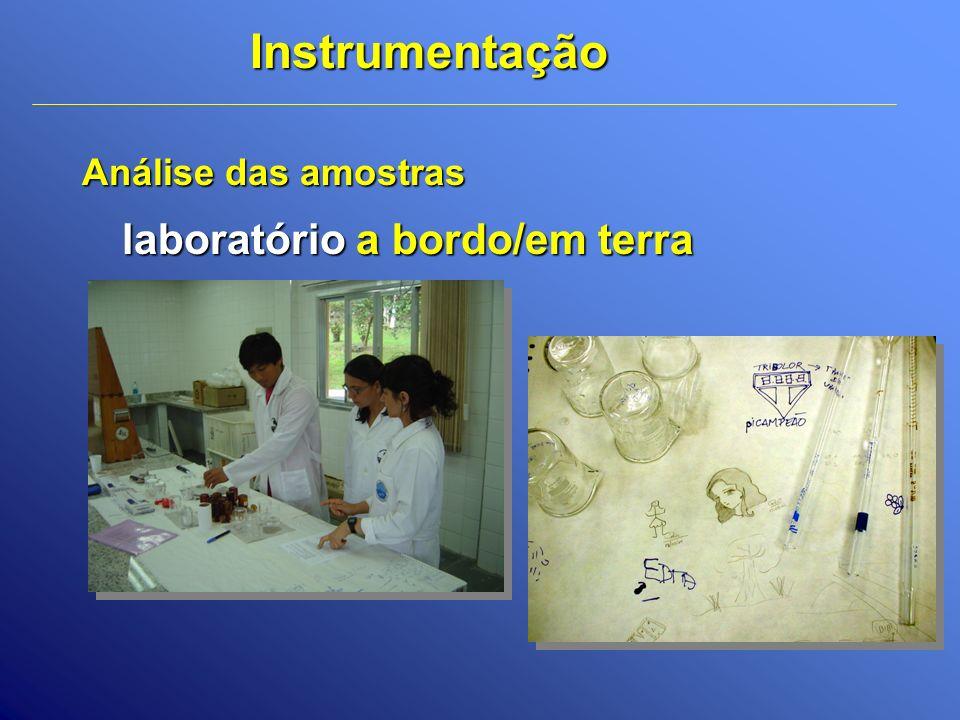 Instrumentação Análise das amostras laboratório a bordo/em terra