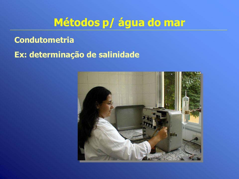 Métodos p/ água do mar Condutometria Ex: determinação de salinidade