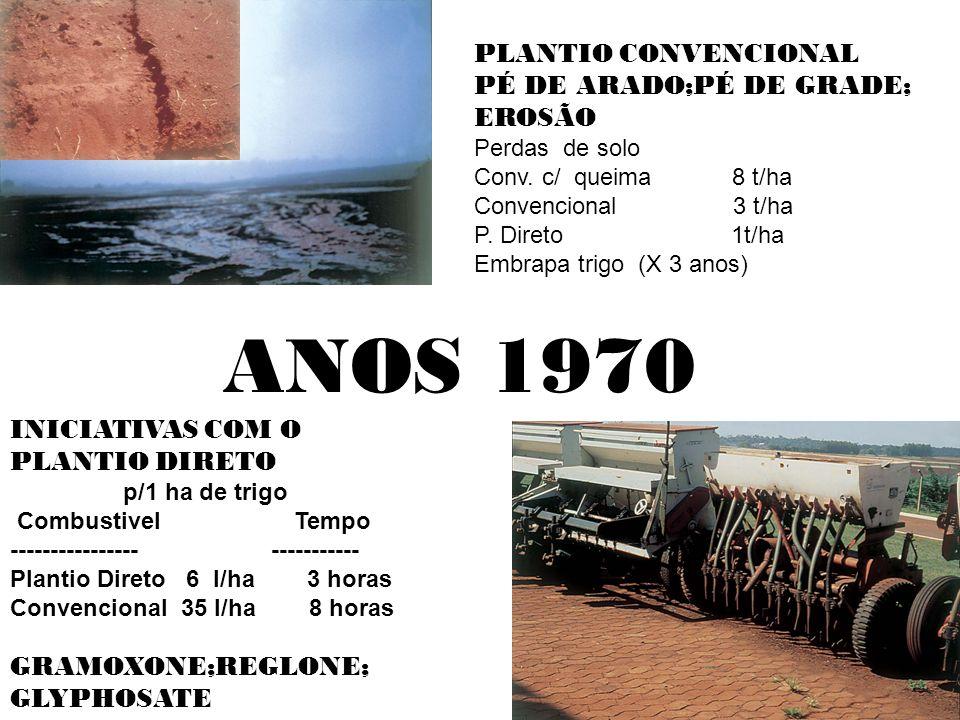 ANOS 1970 PLANTIO CONVENCIONAL PÉ DE ARADO;PÉ DE GRADE; EROSÃO