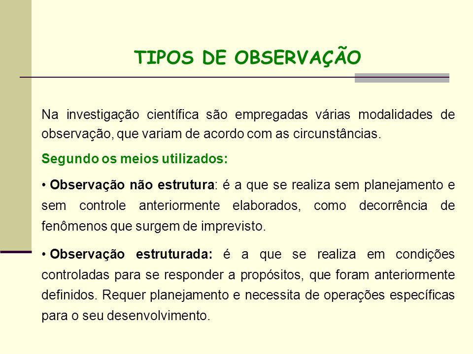 TIPOS DE OBSERVAÇÃONa investigação científica são empregadas várias modalidades de observação, que variam de acordo com as circunstâncias.