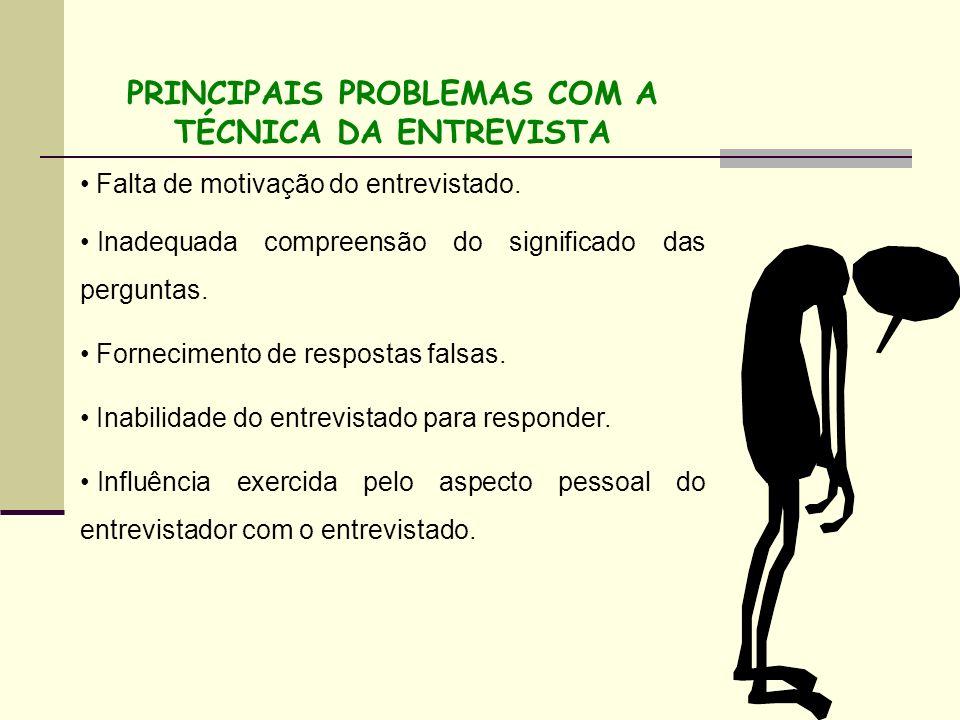 PRINCIPAIS PROBLEMAS COM A TÉCNICA DA ENTREVISTA