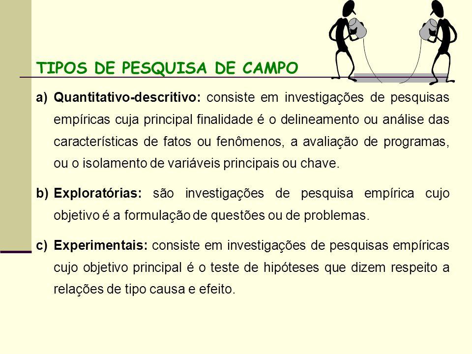 TIPOS DE PESQUISA DE CAMPO