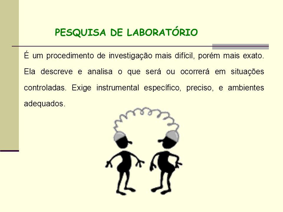 PESQUISA DE LABORATÓRIO