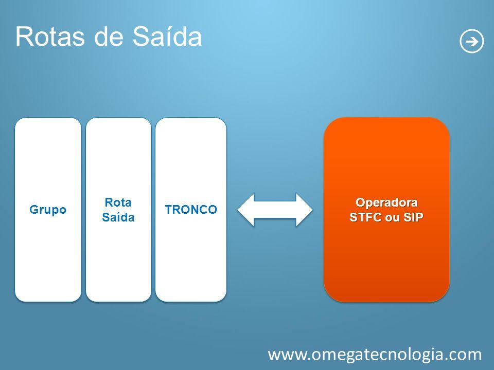 Rotas de Saída Grupo Rota Saída TRONCO Operadora STFC ou SIP