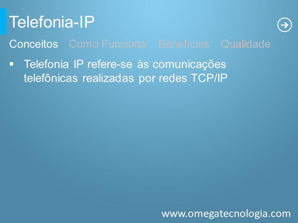 Telefonia-IP Conceitos Como Funciona Benefícios Qualidade. Telefonia IP refere-se às comunicações telefônicas realizadas por redes TCP/IP.