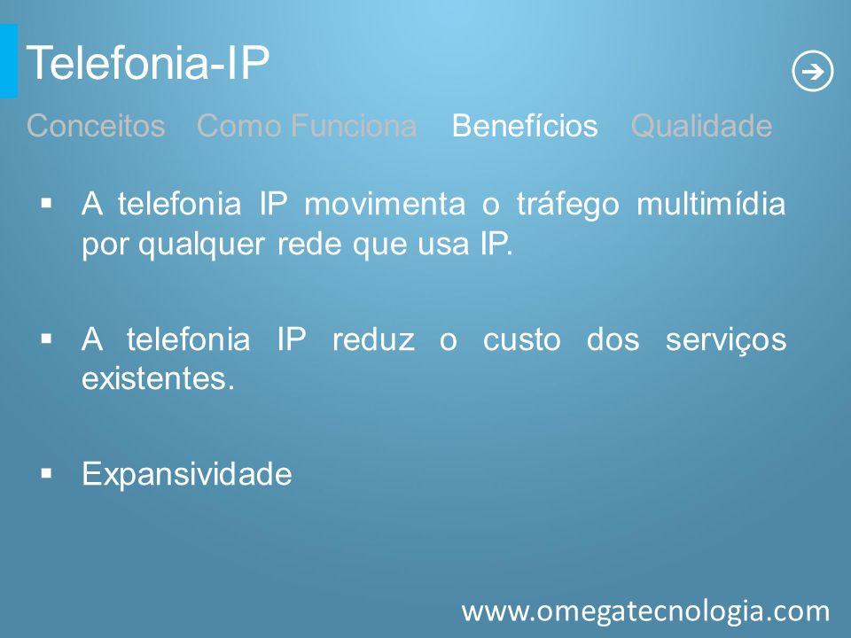 Telefonia-IP Conceitos Como Funciona Benefícios Qualidade. A telefonia IP movimenta o tráfego multimídia por qualquer rede que usa IP.
