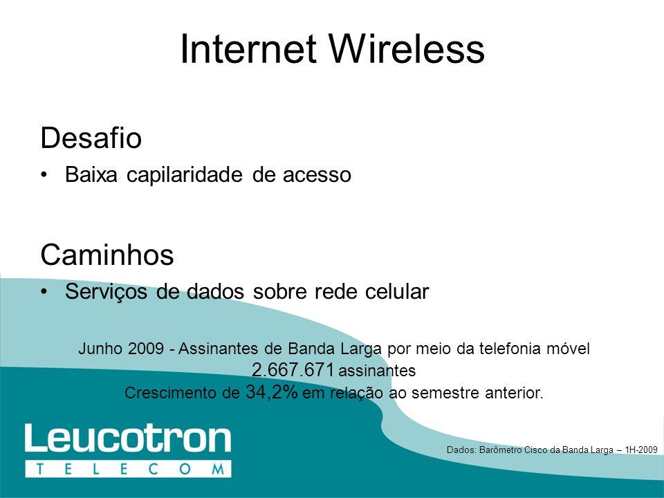 Internet Wireless Desafio Caminhos Baixa capilaridade de acesso