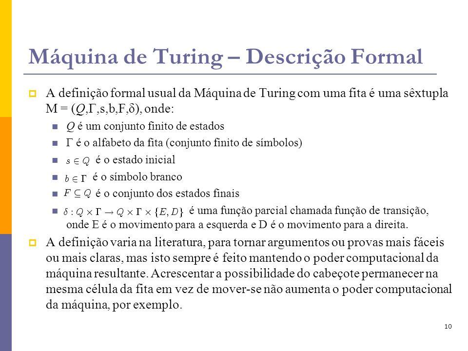 Máquina de Turing – Descrição Formal