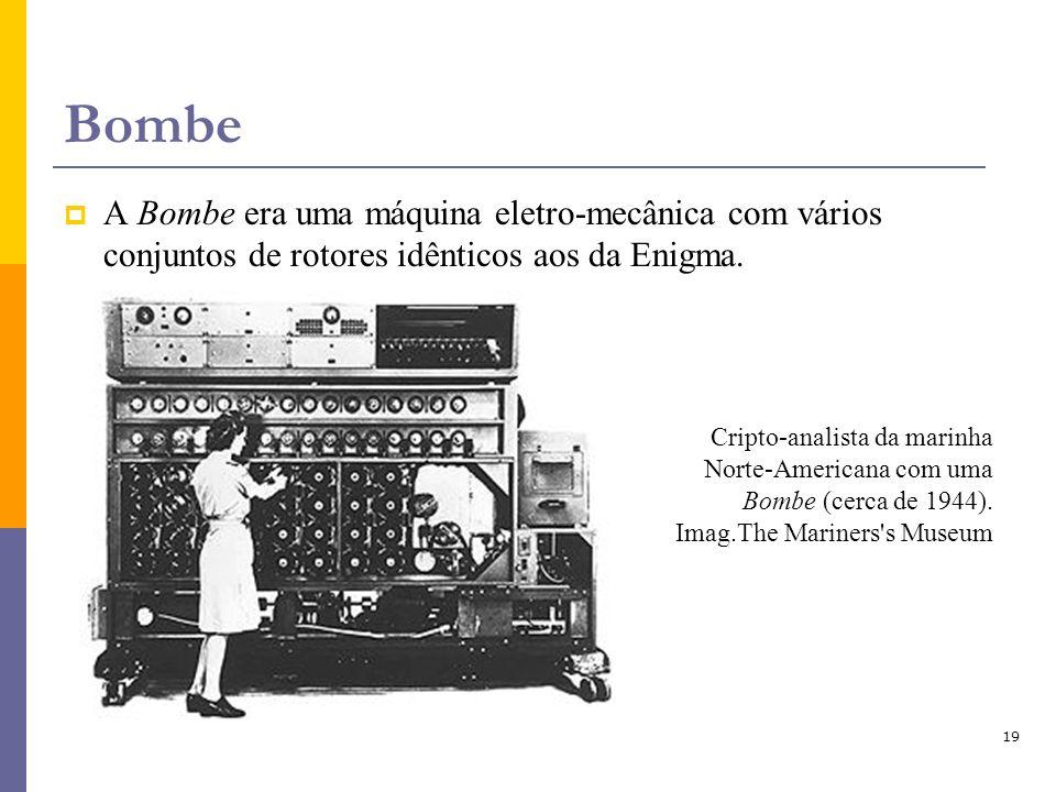 Bombe A Bombe era uma máquina eletro-mecânica com vários conjuntos de rotores idênticos aos da Enigma.