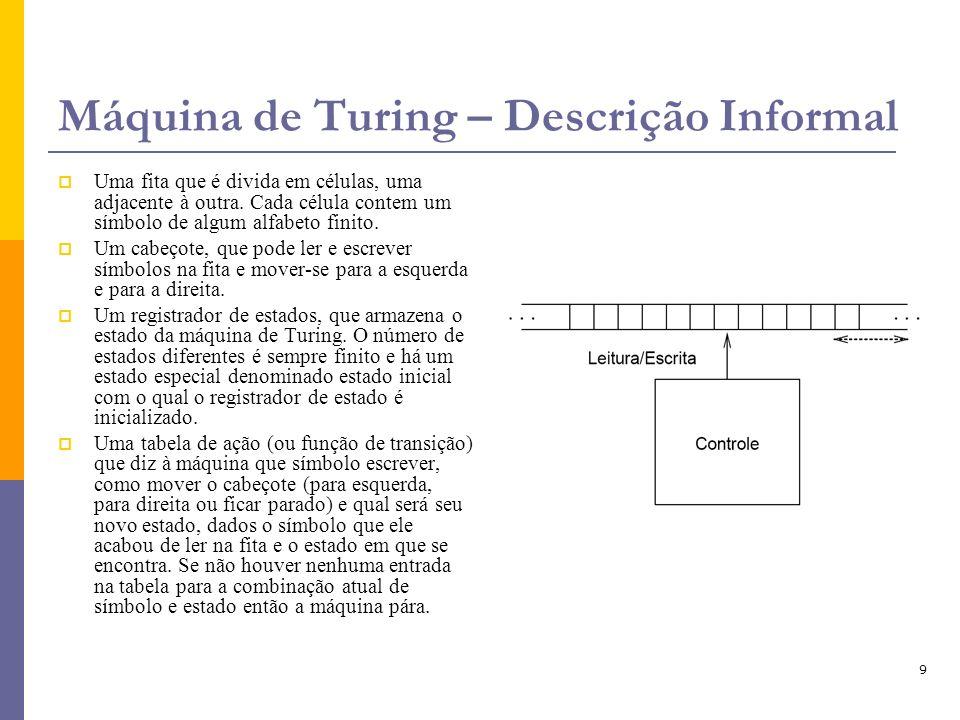 Máquina de Turing – Descrição Informal