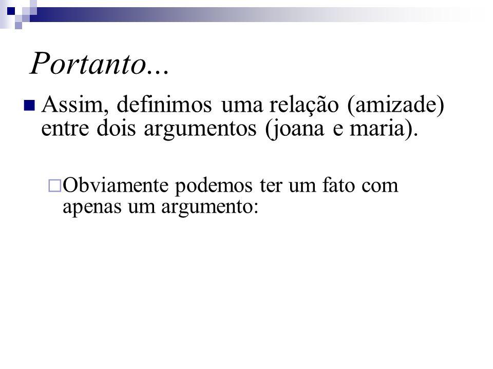 Portanto... Assim, definimos uma relação (amizade) entre dois argumentos (joana e maria).