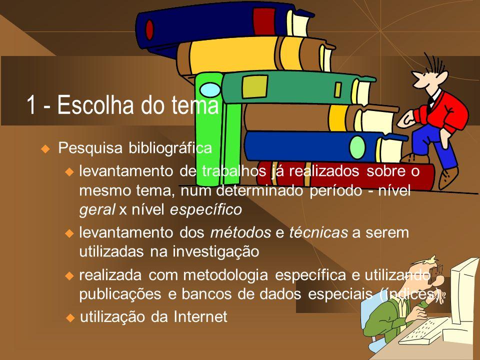 1 - Escolha do tema Pesquisa bibliográfica