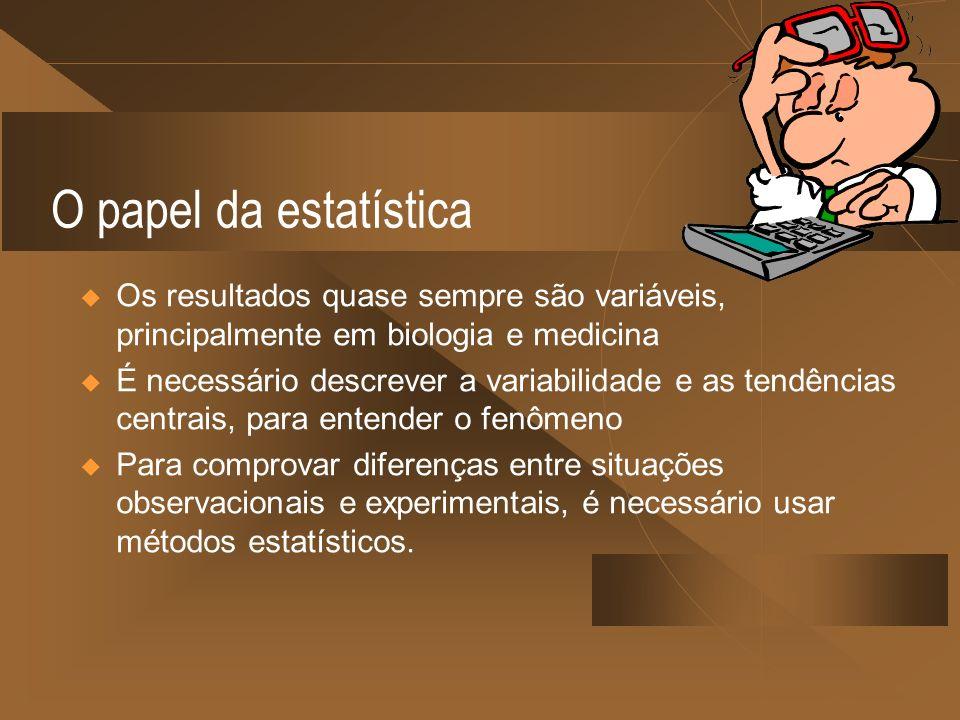 O papel da estatística Os resultados quase sempre são variáveis, principalmente em biologia e medicina.