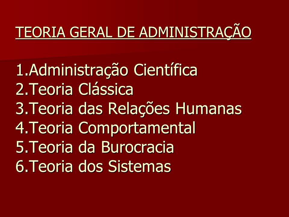 TEORIA GERAL DE ADMINISTRAÇÃO 1. Administração Científica 2