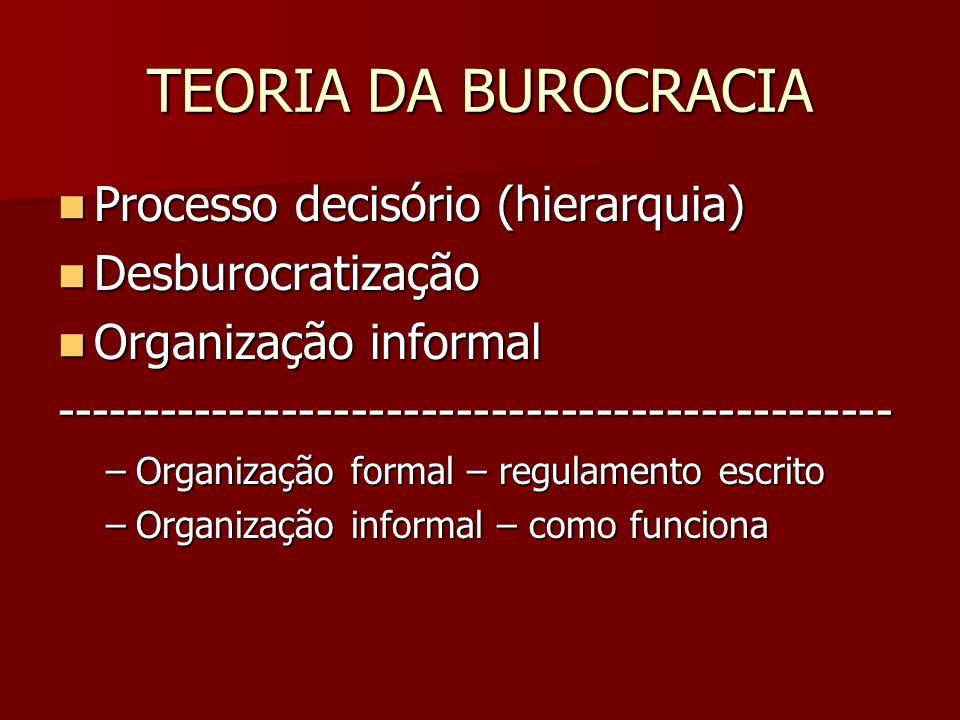 TEORIA DA BUROCRACIA Processo decisório (hierarquia) Desburocratização