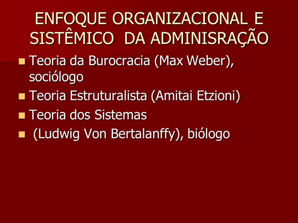 ENFOQUE ORGANIZACIONAL E SISTÊMICO DA ADMINISRAÇÃO
