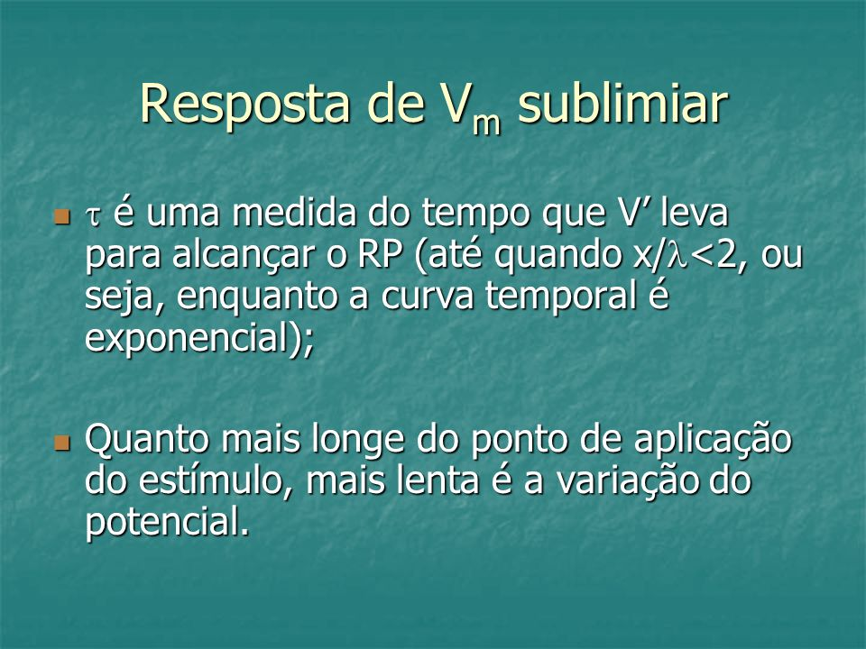 Resposta de Vm sublimiar