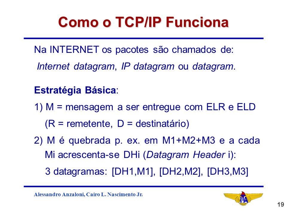 Como o TCP/IP Funciona Na INTERNET os pacotes são chamados de: