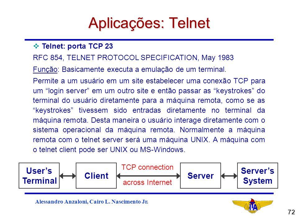 Aplicações: Telnet User's Terminal Client Server Server's System