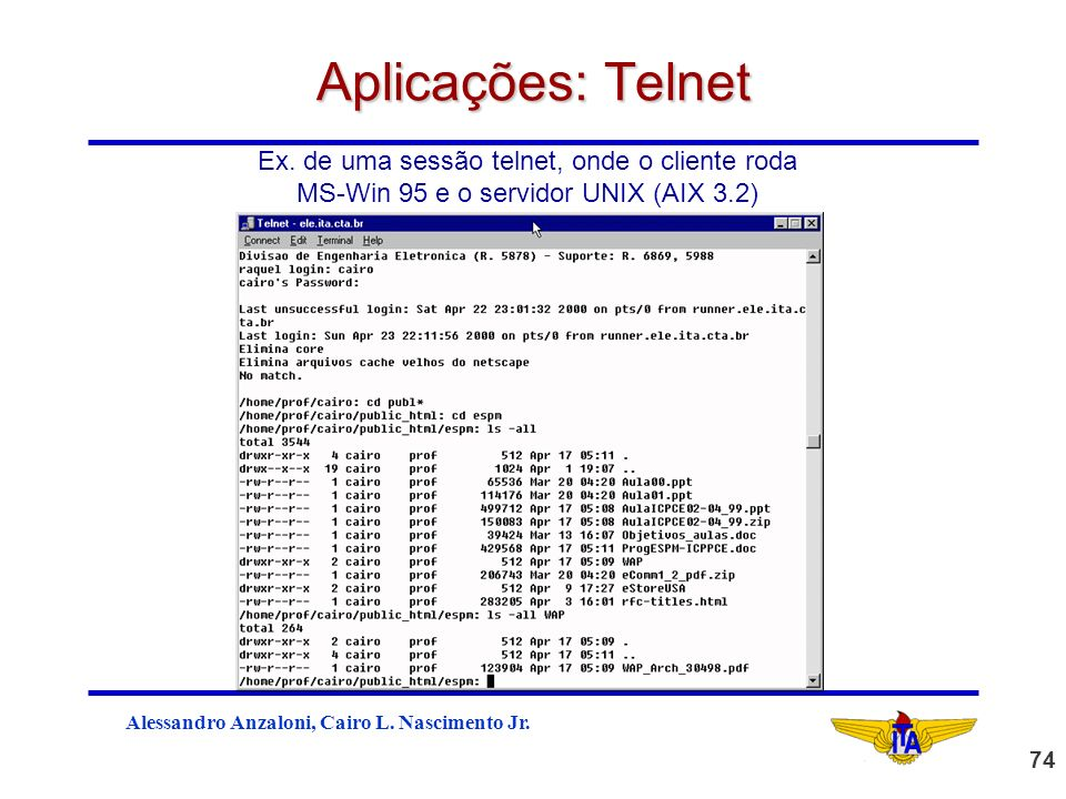 Aplicações: Telnet Ex. de uma sessão telnet, onde o cliente roda