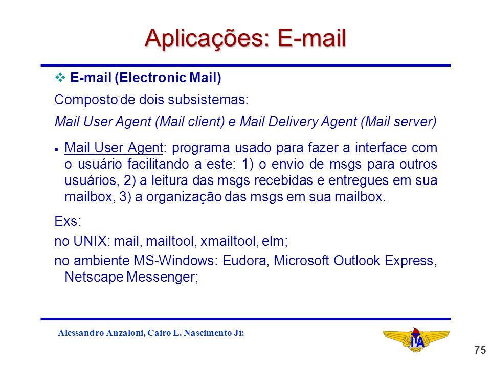 Aplicações: E-mail E-mail (Electronic Mail)