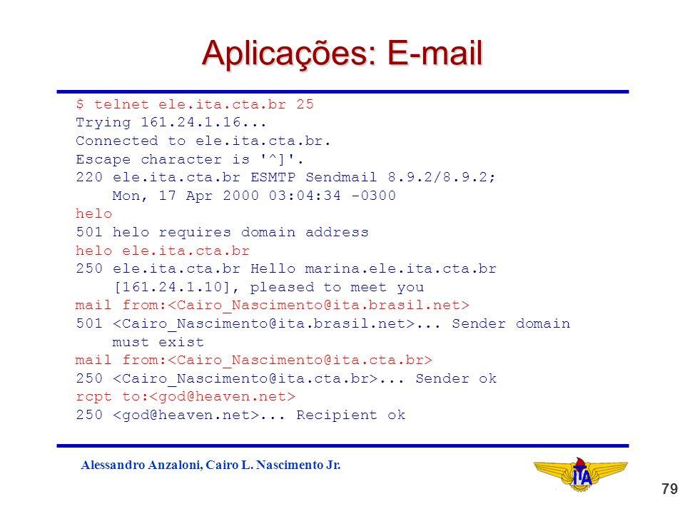 Aplicações: E-mail $ telnet ele.ita.cta.br 25 Trying 161.24.1.16...