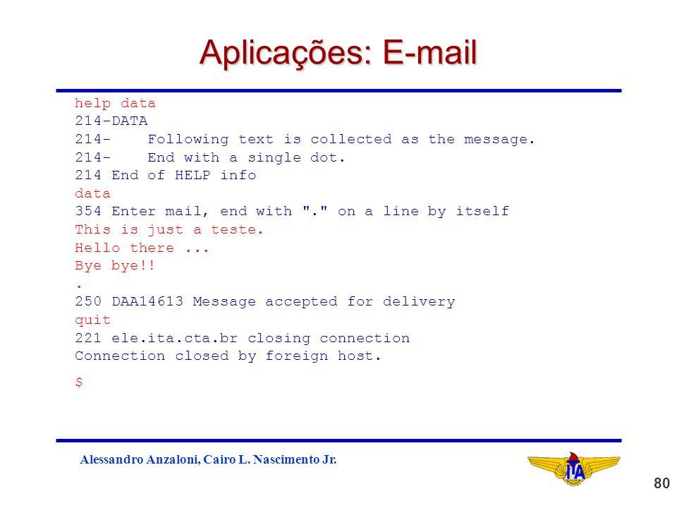 Aplicações: E-mail help data 214-DATA