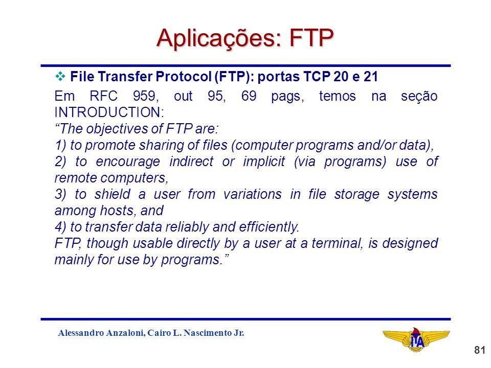 Aplicações: FTP File Transfer Protocol (FTP): portas TCP 20 e 21