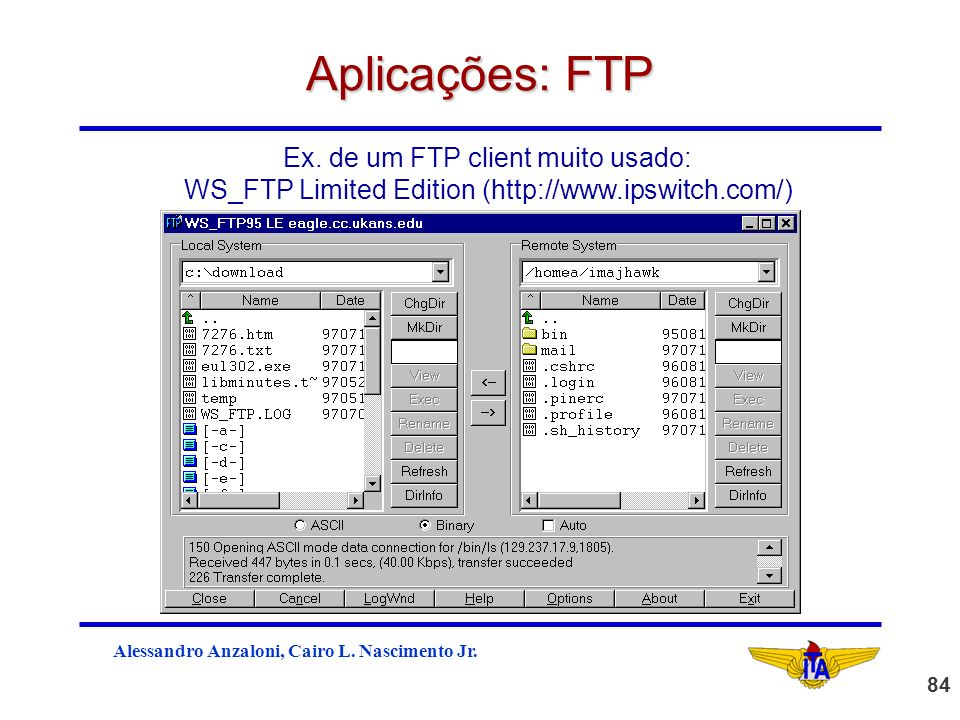 Aplicações: FTP Ex. de um FTP client muito usado: